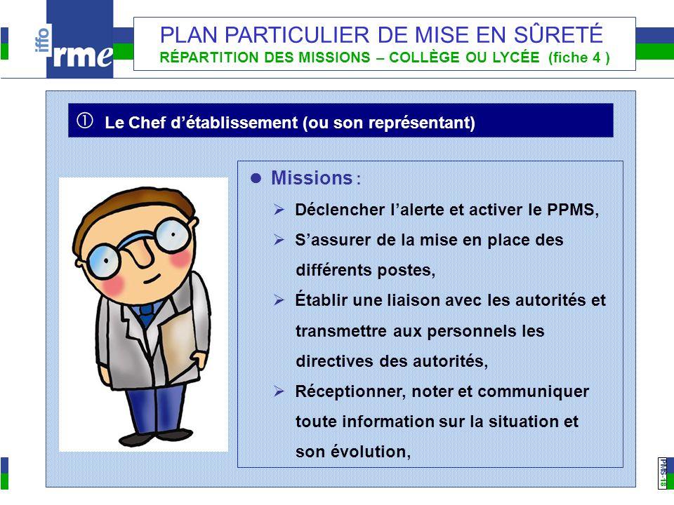 PMS -18 PLAN PARTICULIER DE MISE EN SÛRETÉ RÉPARTITION DES MISSIONS – COLLÈGE OU LYCÉE (fiche 4 ) Missions : Déclencher lalerte et activer le PPMS, Sa