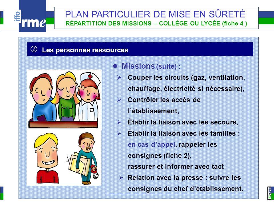 PMS -20 PLAN PARTICULIER DE MISE EN SÛRETĖ RÉPARTITION DES MISSIONS – COLLÈGE OU LYCÉE (fiche 4 ) Les personnes ressources Missions (suite) : Couper l