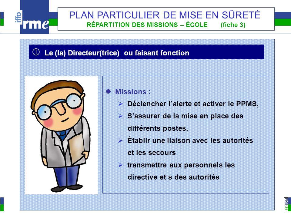 PMS -21 PLAN PARTICULIER DE MISE EN SÛRETÉ RÉPARTITION DES MISSIONS – ÉCOLE (fiche 3) Missions : Déclencher lalerte et activer le PPMS, Sassurer de la