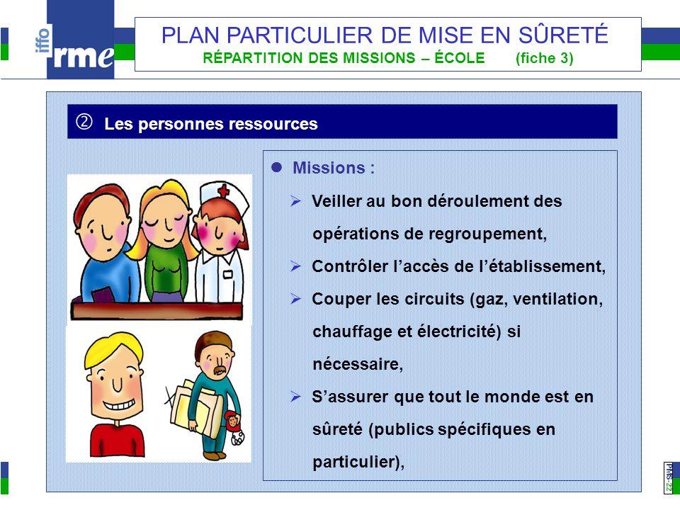 PMS -22 PLAN PARTICULIER DE MISE EN SÛRETÉ RÉPARTITION DES MISSIONS – ÉCOLE (fiche 3) Missions : Veiller au bon déroulement des opérations de regroupe