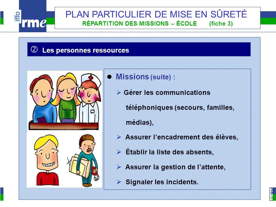 PMS -23 PLAN PARTICULIER DE MISE EN SÛRETÉ RÉPARTITION DES MISSIONS – ÉCOLE (fiche 3) Les personnes ressources Missions (suite) : Gérer les communicat