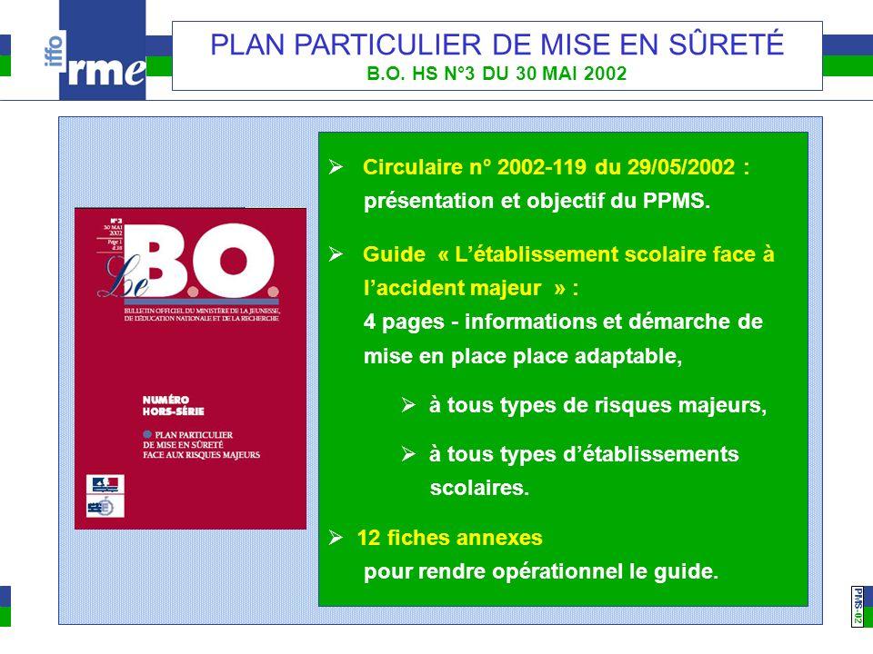 PMS -02 PLAN PARTICULIER DE MISE EN SÛRETÉ B.O. HS N°3 DU 30 MAI 2002 Circulaire n° 2002-119 du 29/05/2002 : présentation et objectif du PPMS. Guide «