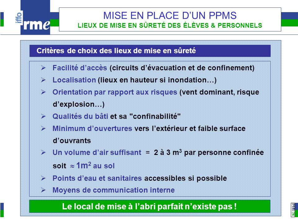 PMS -26 MISE EN PLACE DUN PPMS LIEUX DE MISE EN SÛRETÉ DES ÉLÈVES & PERSONNELS Critères de choix des lieux de mise en sûreté Facilité daccès (circuits