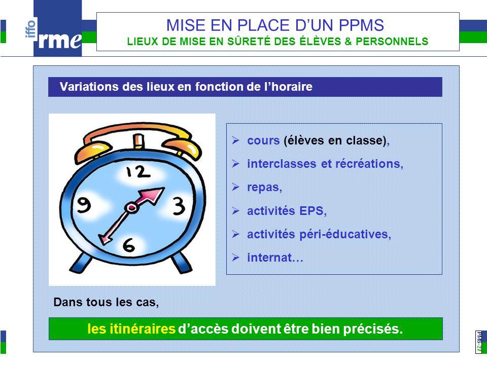 PMS -27 MISE EN PLACE DUN PPMS LIEUX DE MISE EN SÛRETÉ DES ÉLÈVES & PERSONNELS Variations des lieux en fonction de lhoraire cours (élèves en classe),