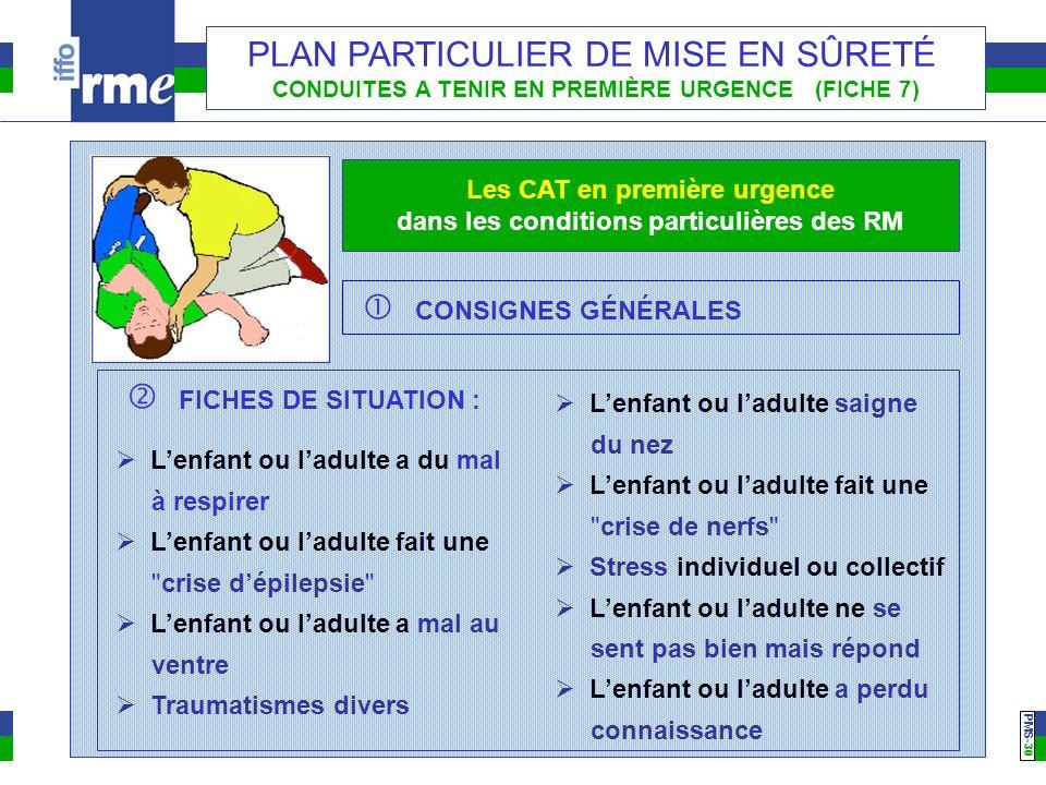 PMS -30 PLAN PARTICULIER DE MISE EN SÛRETÉ CONDUITES A TENIR EN PREMIÈRE URGENCE (FICHE 7) Les CAT en première urgence dans les conditions particulièr