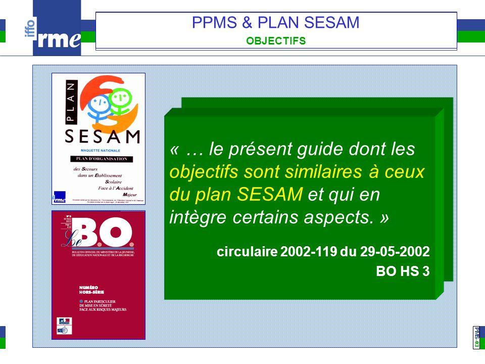 PMS -03 PPMS & PLAN SESAM OBJECTIFS « … le présent guide dont les objectifs sont similaires à ceux du plan SESAM et qui en intègre certains aspects. »