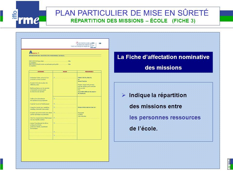PMS -32 PLAN PARTICULIER DE MISE EN SÛRETÉ RÉPARTITION DES MISSIONS – ÉCOLE (FICHE 3) La Fiche daffectation nominative des missions Indique la réparti