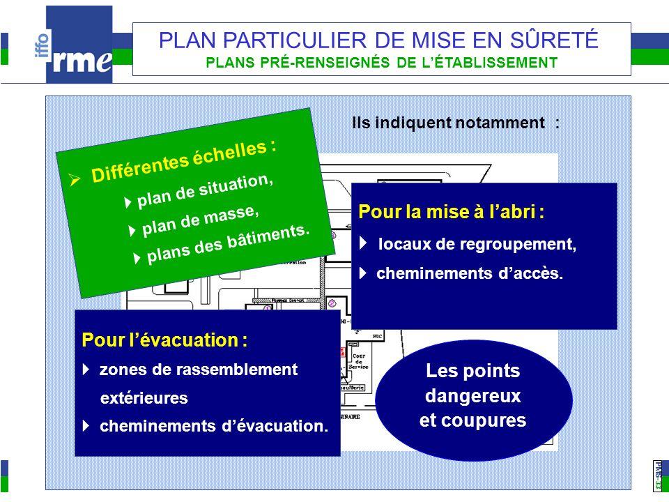 PMS -33 PLAN PARTICULIER DE MISE EN SÛRETÉ PLANS PRÉ-RENSEIGNÉS DE LÉTABLISSEMENT Différentes échelles : plan de situation, plan de masse, plans des bâtiments.