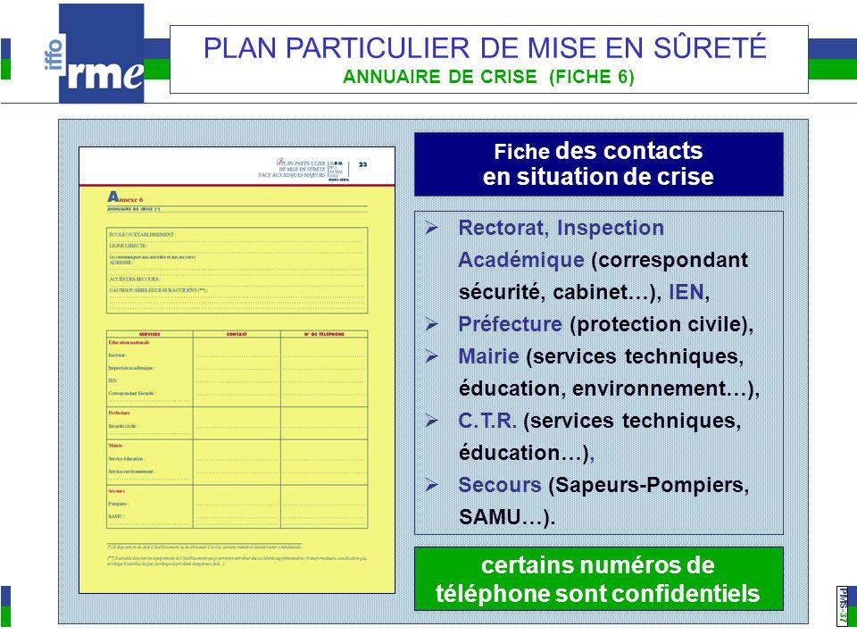 PMS -37 PLAN PARTICULIER DE MISE EN SÛRETÉ ANNUAIRE DE CRISE (FICHE 6) Fiche des contacts en situation de crise Rectorat, Inspection Académique (corre