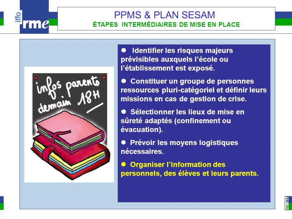 PMS -10e PPMS & PLAN SESAM ÉTAPES INTERMÉDIAIRES DE MISE EN PLACE Identifier les risques majeurs prévisibles auxquels lécole ou létablissement est exp