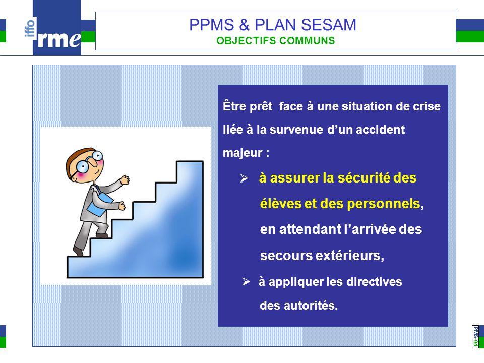 PMS -04 PPMS & PLAN SESAM OBJECTIFS COMMUNS Être prêt face à une situation de crise liée à la survenue dun accident majeur : à assurer la sécurité des