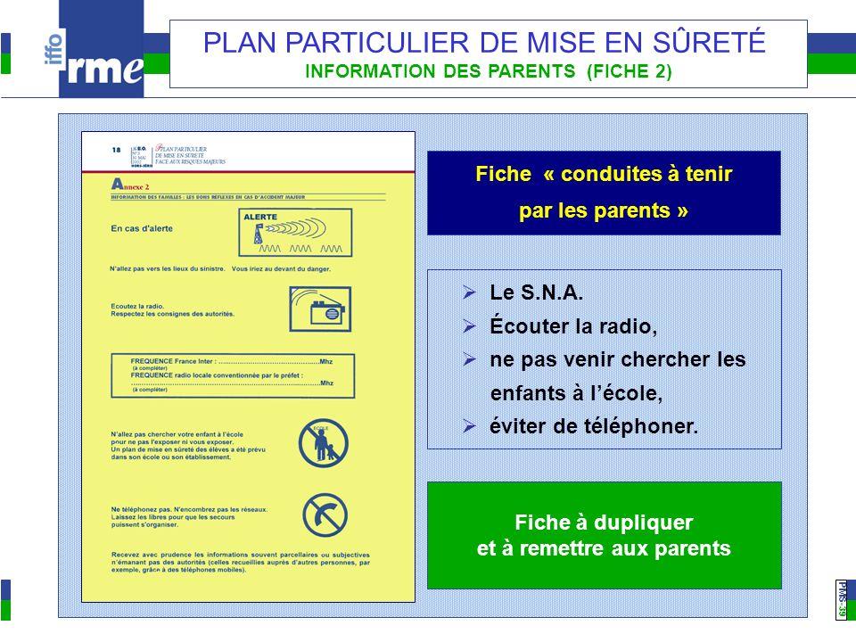 PMS -39 PLAN PARTICULIER DE MISE EN SÛRETÉ INFORMATION DES PARENTS (FICHE 2) Fiche « conduites à tenir par les parents » Fiche à dupliquer et à remettre aux parents Le S.N.A.