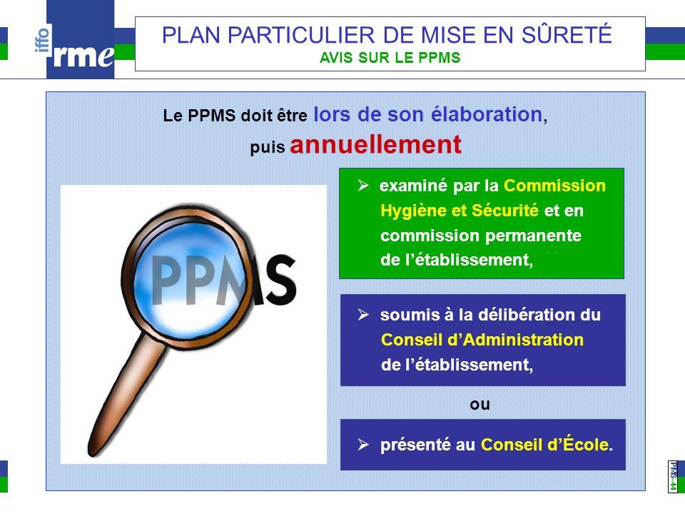 PMS -44 PLAN PARTICULIER DE MISE EN SÛRETÉ AVIS SUR LE PPMS Le PPMS doit être lors de son élaboration, puis annuellement examiné par la Commission Hyg