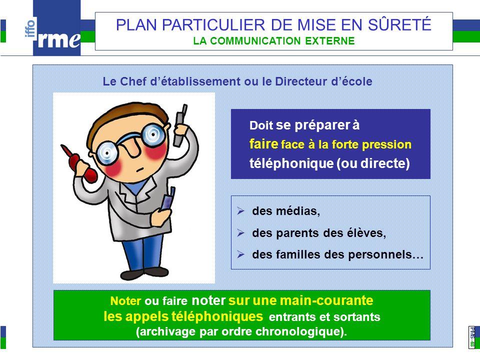 PMS -48 PLAN PARTICULIER DE MISE EN SÛRETÉ LA COMMUNICATION EXTERNE Le Chef détablissement ou le Directeur décole Doit se préparer à faire face à la f