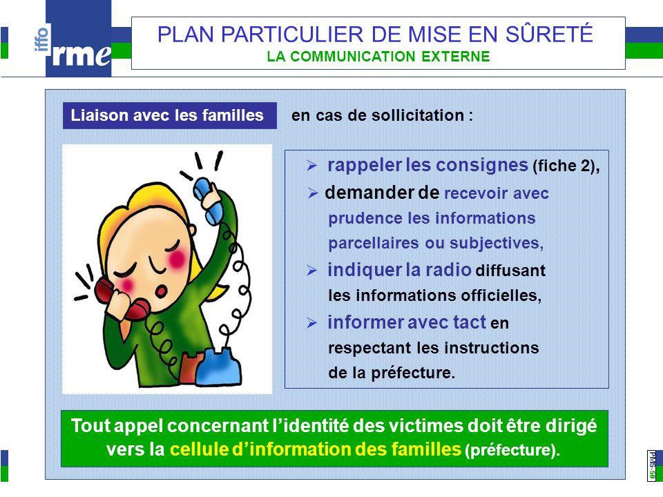 PMS -50 PLAN PARTICULIER DE MISE EN SÛRETÉ LA COMMUNICATION EXTERNE Liaison avec les familles rappeler les consignes (fiche 2), demander de recevoir a