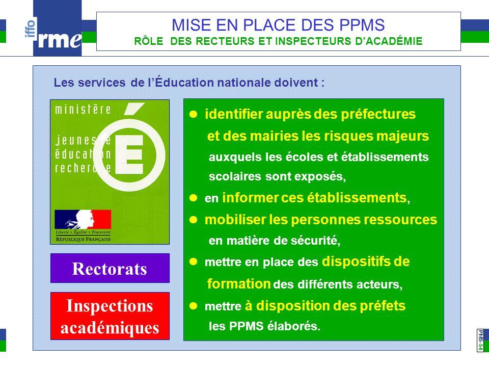 PMS -54 MISE EN PLACE DES PPMS RÔLE DES RECTEURS ET INSPECTEURS DACADÉMIE identifier auprès des préfectures et des mairies les risques majeurs auxquel