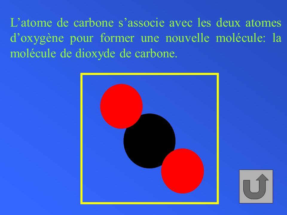 Latome de carbone sassocie avec les deux atomes doxygène pour former une nouvelle molécule: la molécule de dioxyde de carbone.