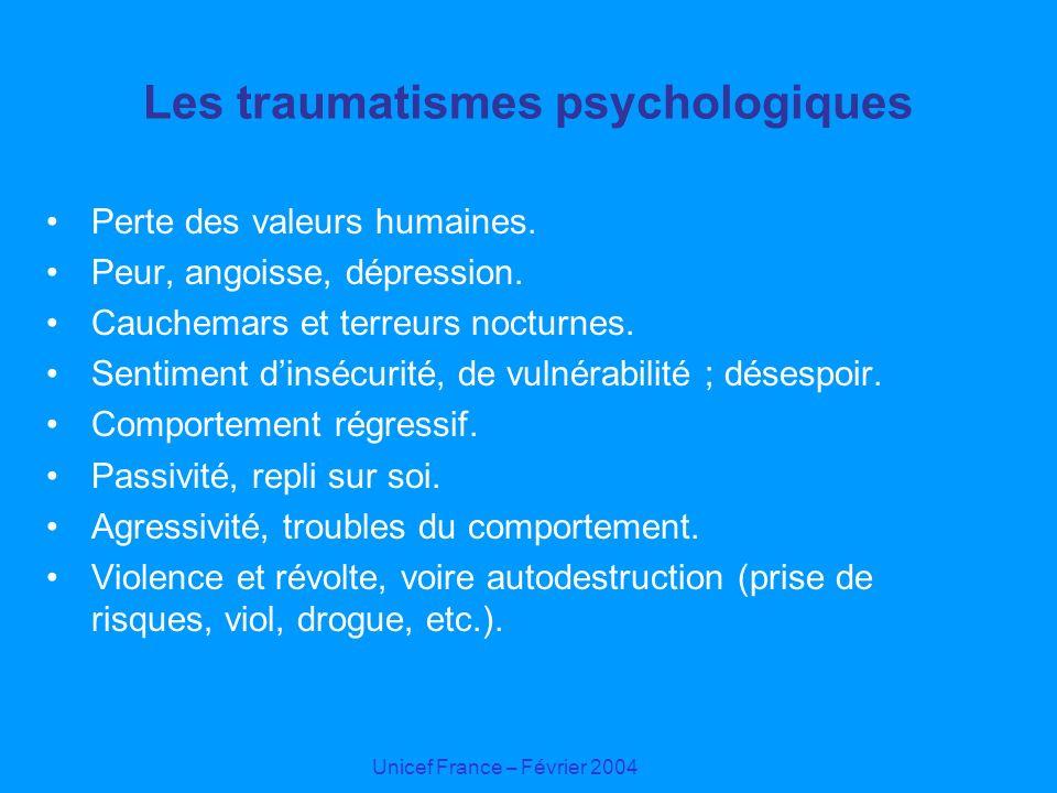 Unicef France – Février 2004 Les traumatismes psychologiques Perte des valeurs humaines. Peur, angoisse, dépression. Cauchemars et terreurs nocturnes.
