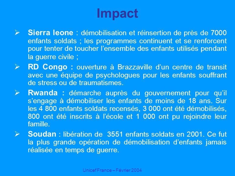 Unicef France – Février 2004 Impact Sierra leone : démobilisation et réinsertion de près de 7000 enfants soldats ; les programmes continuent et se ren