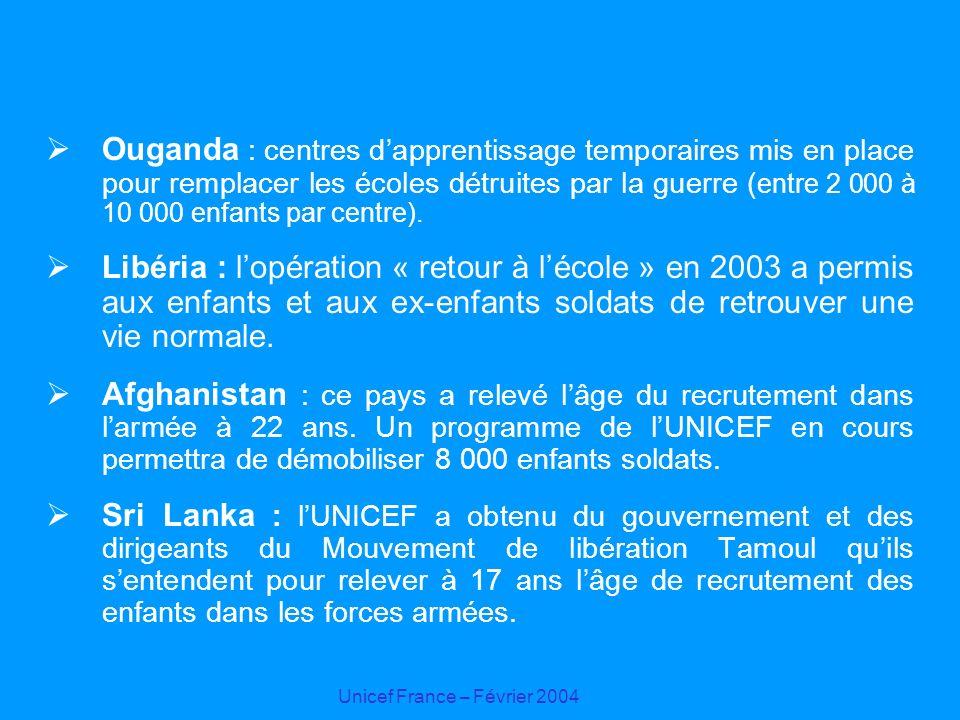 Unicef France – Février 2004 Ouganda : centres dapprentissage temporaires mis en place pour remplacer les écoles détruites par la guerre ( entre 2 000