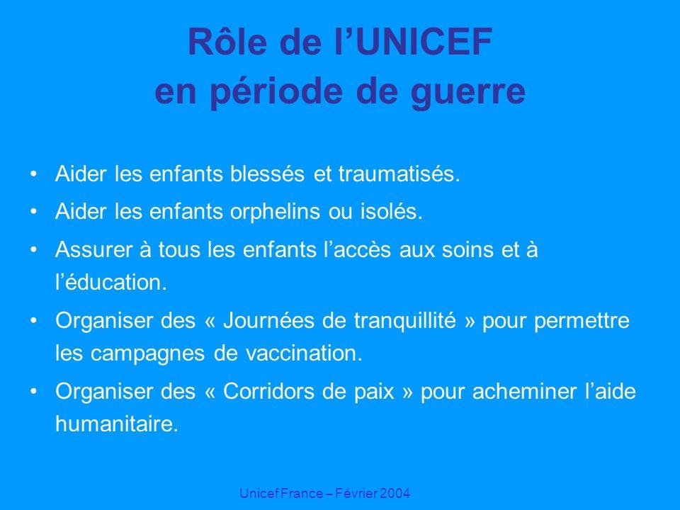 Unicef France – Février 2004 Rôle de lUNICEF en période de guerre Aider les enfants blessés et traumatisés. Aider les enfants orphelins ou isolés. Ass