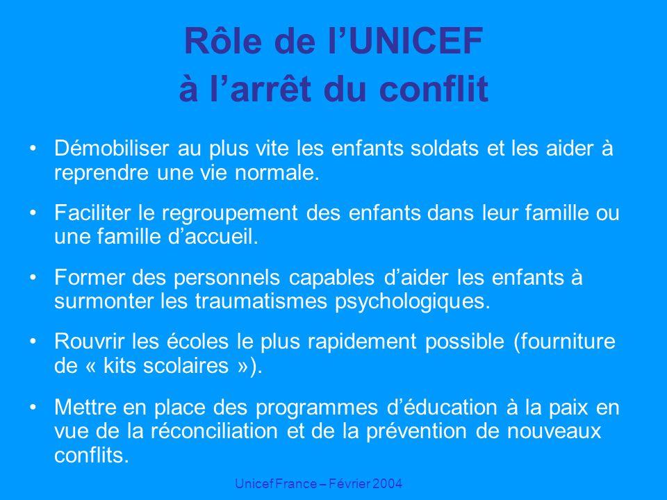 Unicef France – Février 2004 Rôle de lUNICEF à larrêt du conflit Démobiliser au plus vite les enfants soldats et les aider à reprendre une vie normale