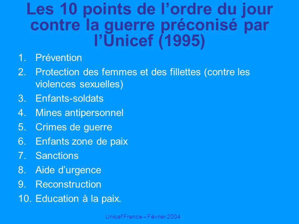 Unicef France – Février 2004 Les 10 points de lordre du jour contre la guerre préconisé par lUnicef (1995) 1.Prévention 2.Protection des femmes et des