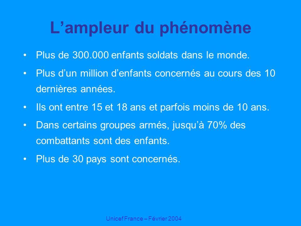 Unicef France – Février 2004 Lampleur du phénomène Plus de 300.000 enfants soldats dans le monde. Plus dun million denfants concernés au cours des 10