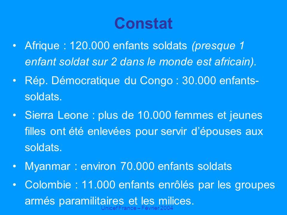 Unicef France – Février 2004 Constat Afrique : 120.000 enfants soldats (presque 1 enfant soldat sur 2 dans le monde est africain). Rép. Démocratique d