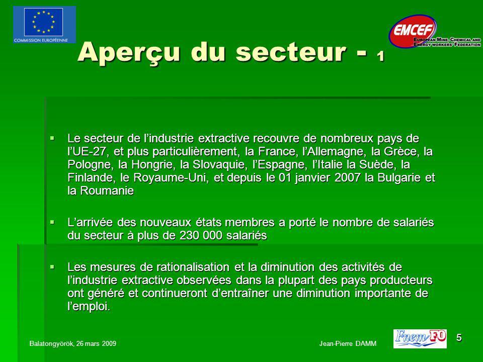 5 Aperçu du secteur - 1 Le secteur de lindustrie extractive recouvre de nombreux pays de lUE-27, et plus particulièrement, la France, lAllemagne, la Grèce, la Pologne, la Hongrie, la Slovaquie, lEspagne, lItalie la Suède, la Finlande, le Royaume-Uni, et depuis le 01 janvier 2007 la Bulgarie et la Roumanie Le secteur de lindustrie extractive recouvre de nombreux pays de lUE-27, et plus particulièrement, la France, lAllemagne, la Grèce, la Pologne, la Hongrie, la Slovaquie, lEspagne, lItalie la Suède, la Finlande, le Royaume-Uni, et depuis le 01 janvier 2007 la Bulgarie et la Roumanie Larrivée des nouveaux états membres a porté le nombre de salariés du secteur à plus de 230 000 salariés Larrivée des nouveaux états membres a porté le nombre de salariés du secteur à plus de 230 000 salariés Les mesures de rationalisation et la diminution des activités de lindustrie extractive observées dans la plupart des pays producteurs ont généré et continueront dentraîner une diminution importante de lemploi.