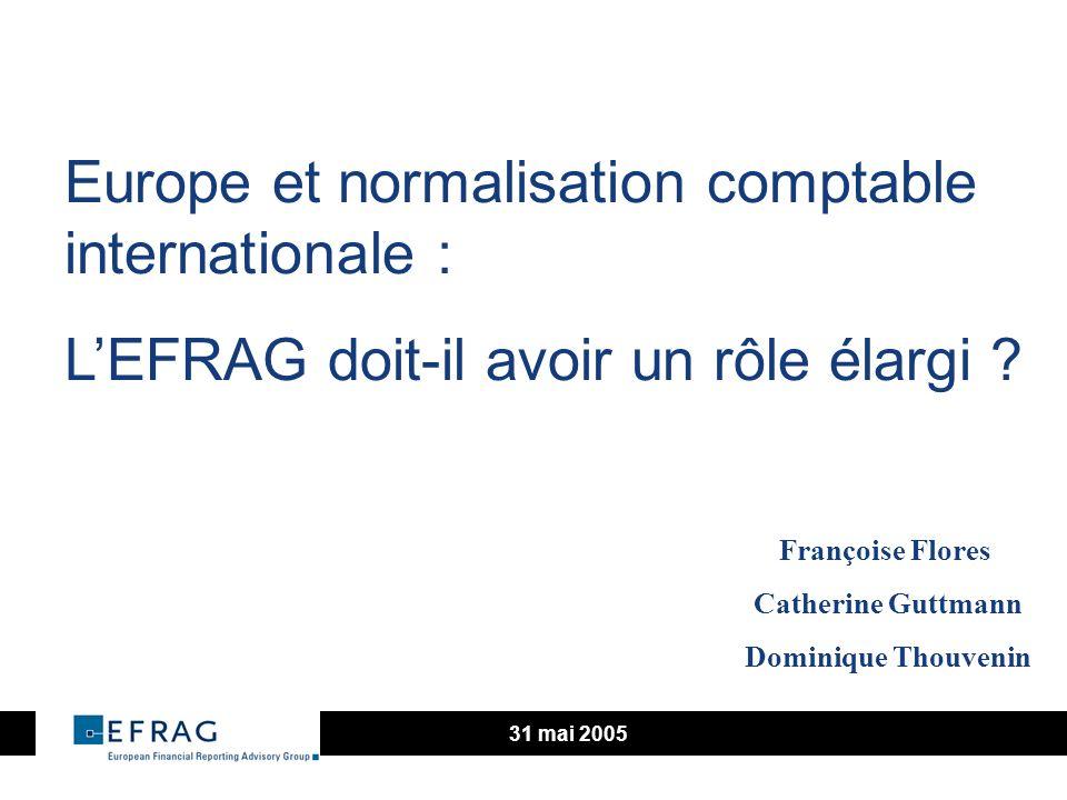 2 Les objectifs fixés lors de la création de lEFRAG Contribution proactive au développement dune amélioration des normes de reporting financier Développer et exprimer la voix technique de lEurope Conseiller la Commission Européenne sur ladéquation des normes internationales aux besoins européens Recommander à la Commission Européenne les changements aux directives comptables
