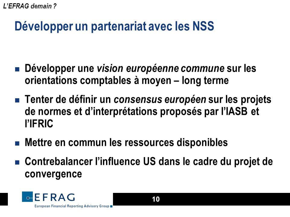 10 Développer un partenariat avec les NSS Développer une vision européenne commune sur les orientations comptables à moyen – long terme Tenter de défi