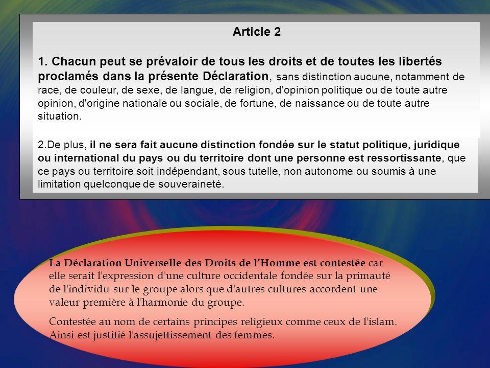 Article premier Tous les êtres humains naissent libres et égaux en dignité et en droits.