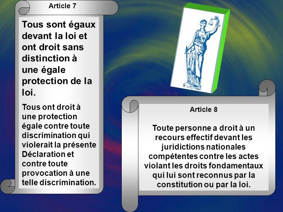 Article 6 Chacun a le droit à la reconnaissance en tous lieux de sa personnalité juridique.