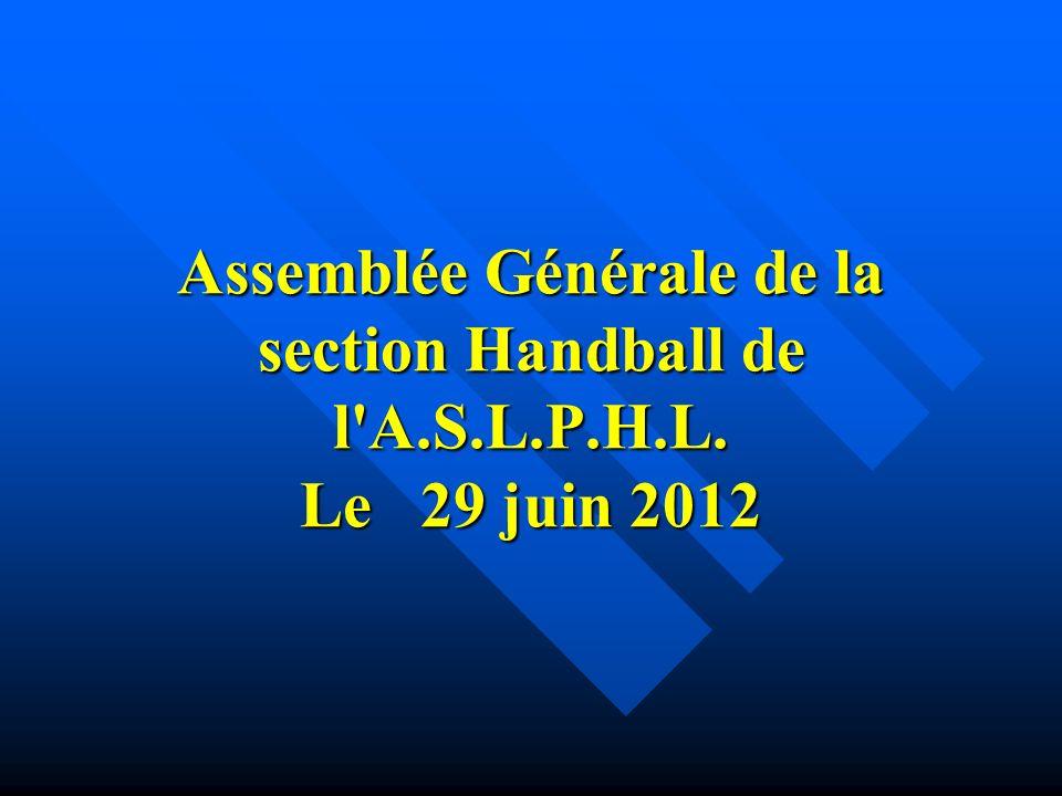 Assemblée Générale de la section Handball de l A.S.L.P.H.L. Le 29 juin 2012