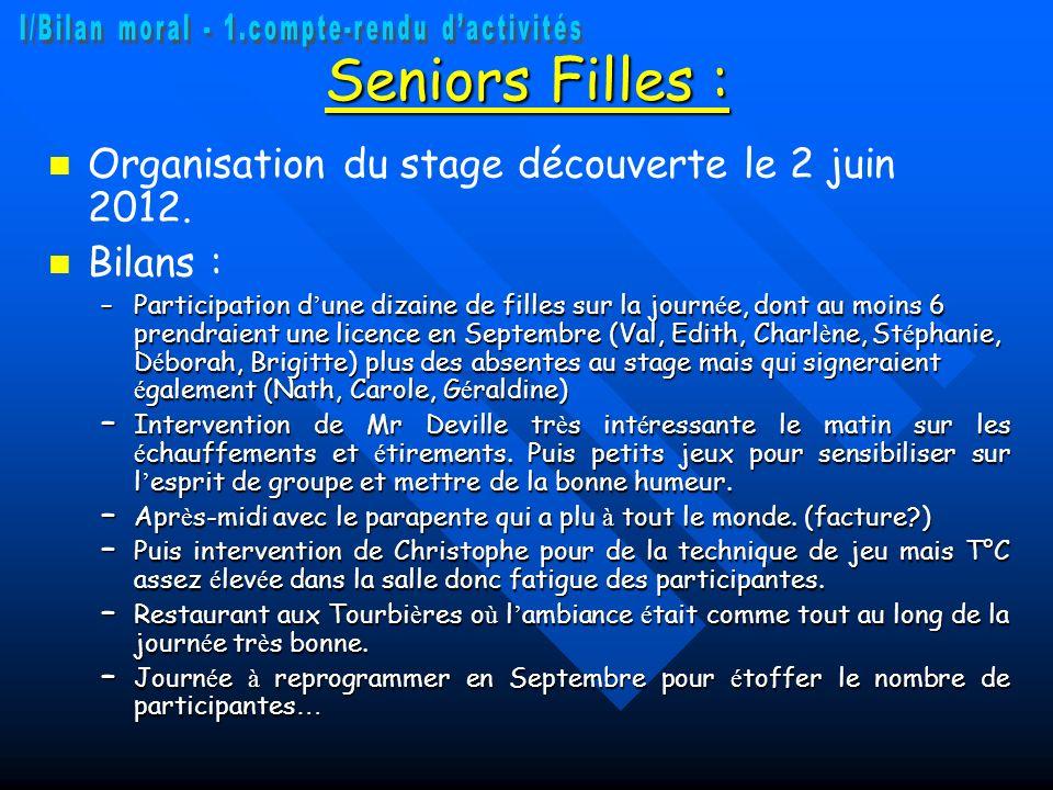 Seniors Filles : Organisation du stage découverte le 2 juin 2012. Bilans : –Participation d une dizaine de filles sur la journ é e, dont au moins 6 pr