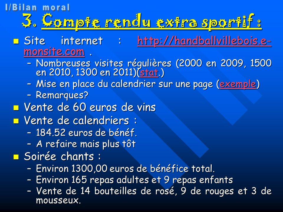 3.Compte rendu extra sportif : Site internet : http://handballvillebois.e- monsite.com.