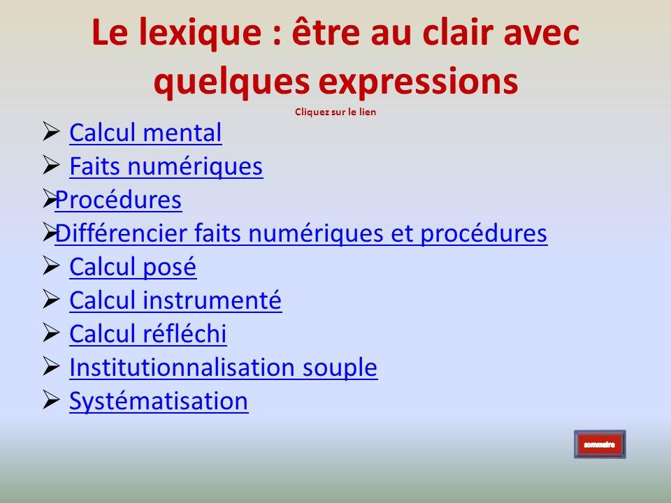Le lexique : être au clair avec quelques expressions Cliquez sur le lien Calcul mental Faits numériques Procédures Différencier faits numériques et pr