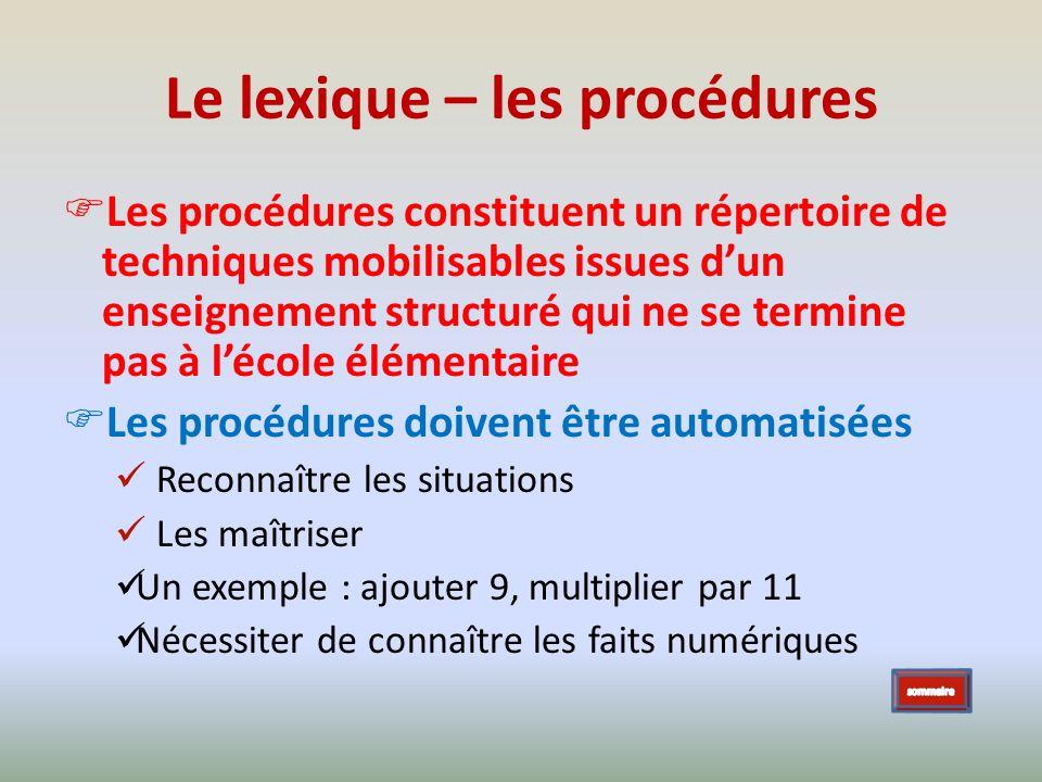 Le lexique – les procédures Les procédures constituent un répertoire de techniques mobilisables issues dun enseignement structuré qui ne se termine pa