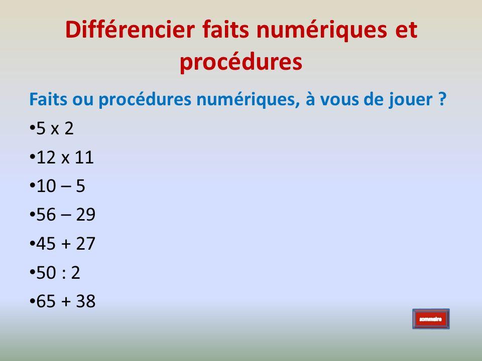 Différencier faits numériques et procédures Faits ou procédures numériques, à vous de jouer ? 5 x 2 12 x 11 10 – 5 56 – 29 45 + 27 50 : 2 65 + 38