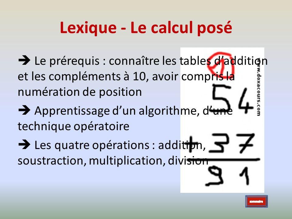 Lexique - Le calcul posé Le prérequis : connaître les tables daddition et les compléments à 10, avoir compris la numération de position Apprentissage