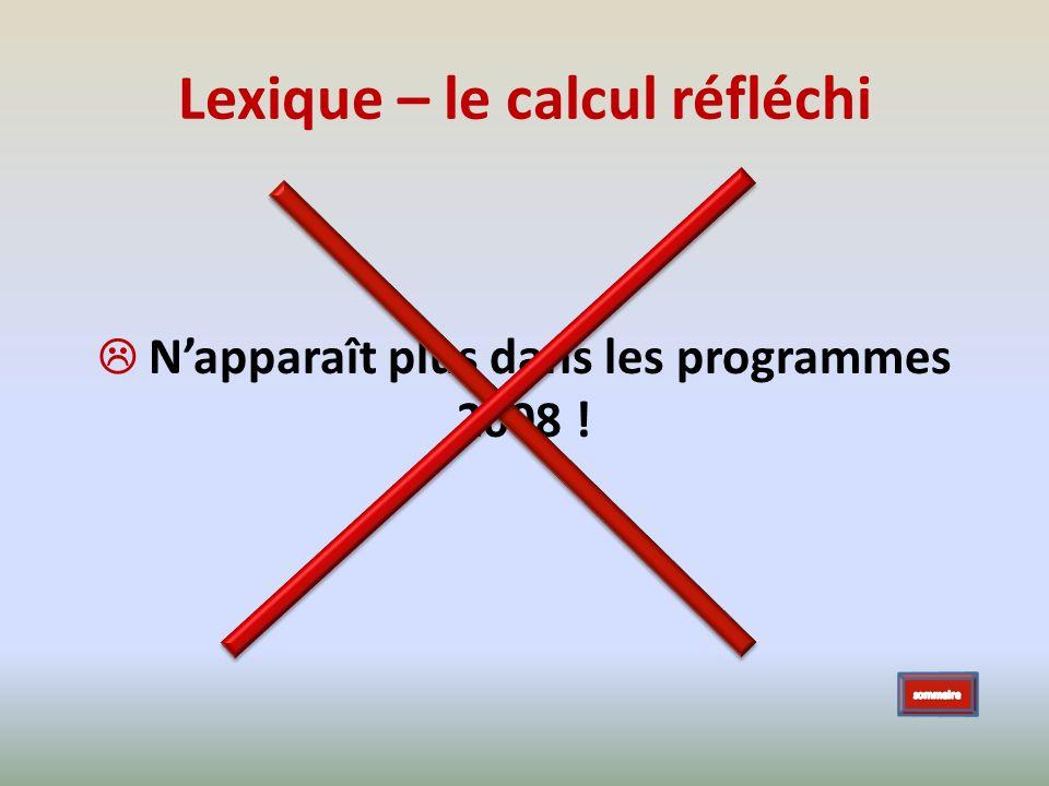 Lexique – le calcul réfléchi Napparaît plus dans les programmes 2008 !