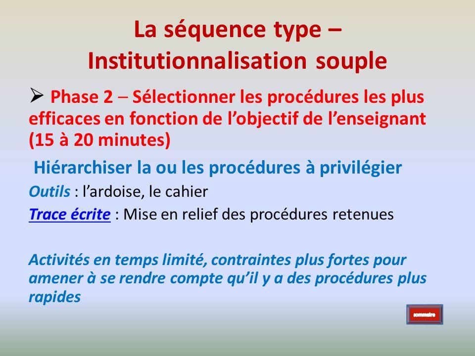 La séquence type – Institutionnalisation souple Phase 2 – Sélectionner les procédures les plus efficaces en fonction de lobjectif de lenseignant (15 à