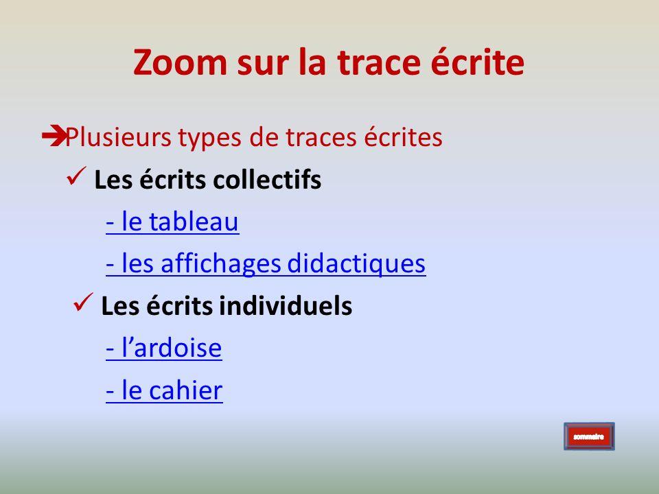 Plusieurs types de traces écrites Les écrits collectifs - le tableau - les affichages didactiques Les écrits individuels - lardoise - le cahier