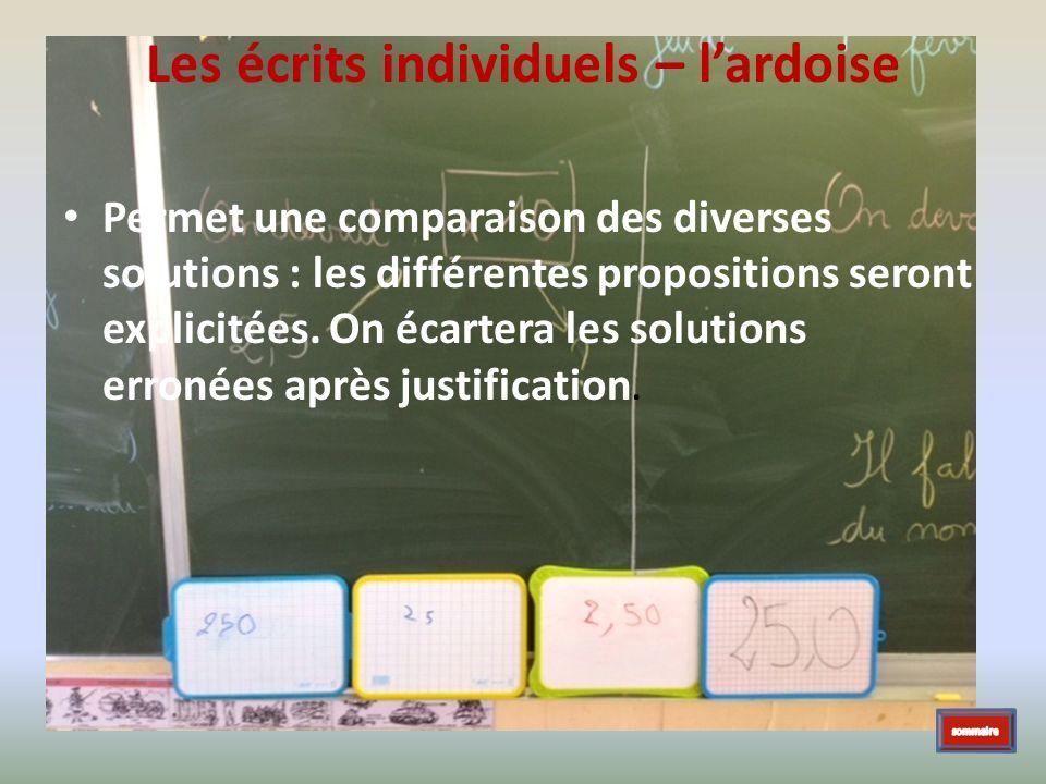 Les écrits individuels – lardoise Permet une comparaison des diverses solutions : les différentes propositions seront explicitées. On écartera les sol
