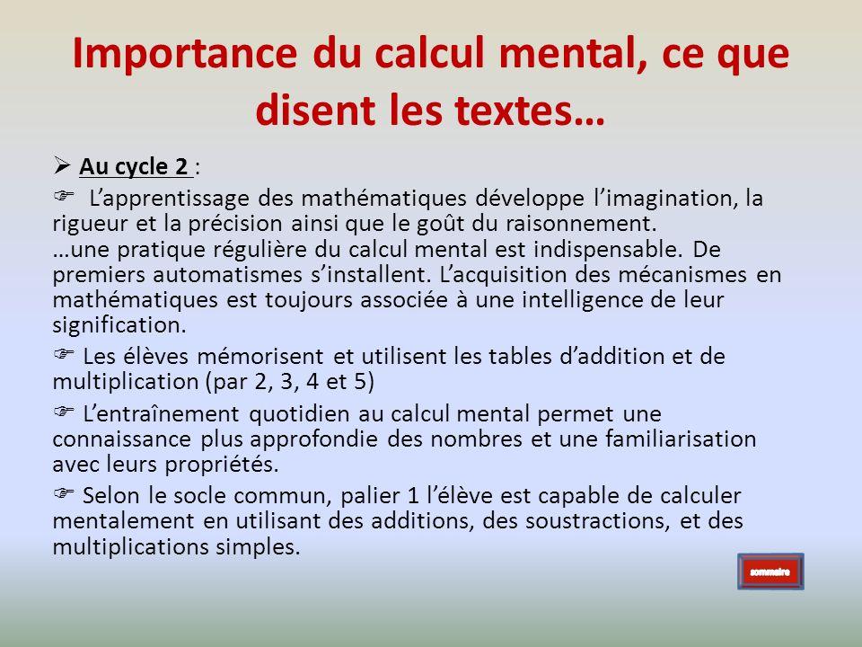 Importance du calcul mental, ce que disent les textes… Au cycle 2 : Lapprentissage des mathématiques développe limagination, la rigueur et la précisio
