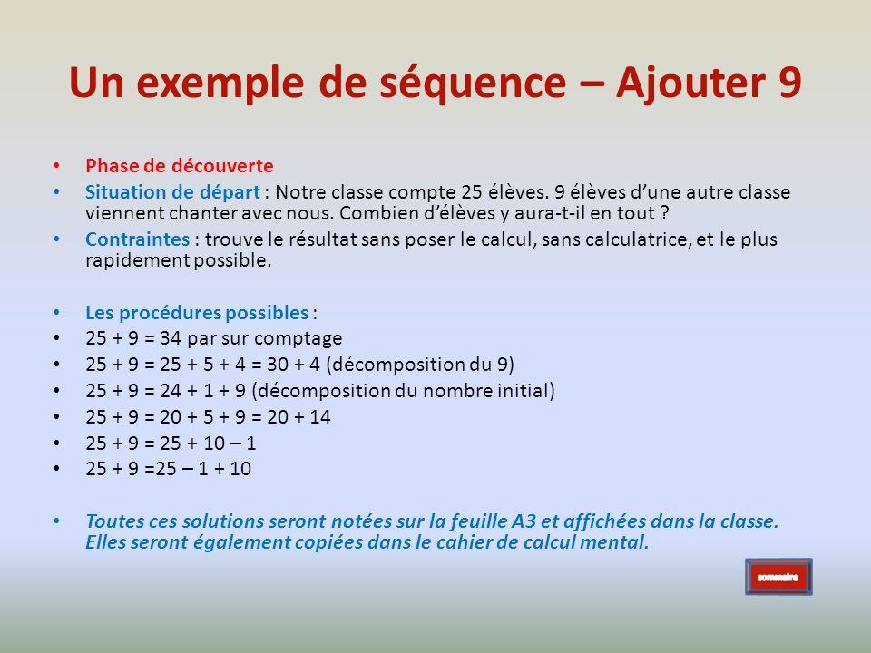 Un exemple de séquence – Ajouter 9 Phase de découverte Situation de départ : Notre classe compte 25 élèves. 9 élèves dune autre classe viennent chante