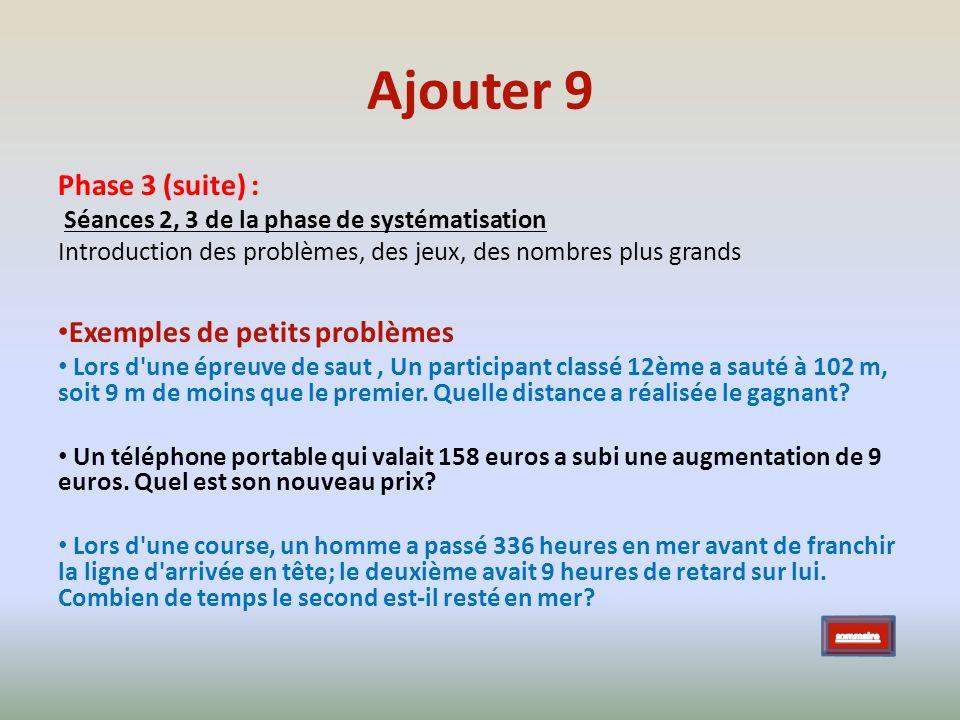Phase 3 (suite) : Séances 2, 3 de la phase de systématisation Introduction des problèmes, des jeux, des nombres plus grands Exemples de petits problèm