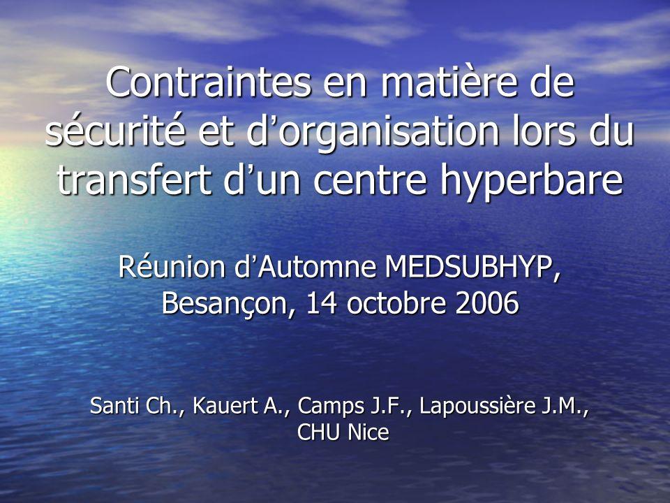 Contraintes en matière de sécurité et d organisation lors du transfert d un centre hyperbare Réunion d Automne MEDSUBHYP, Besançon, 14 octobre 2006 Sa