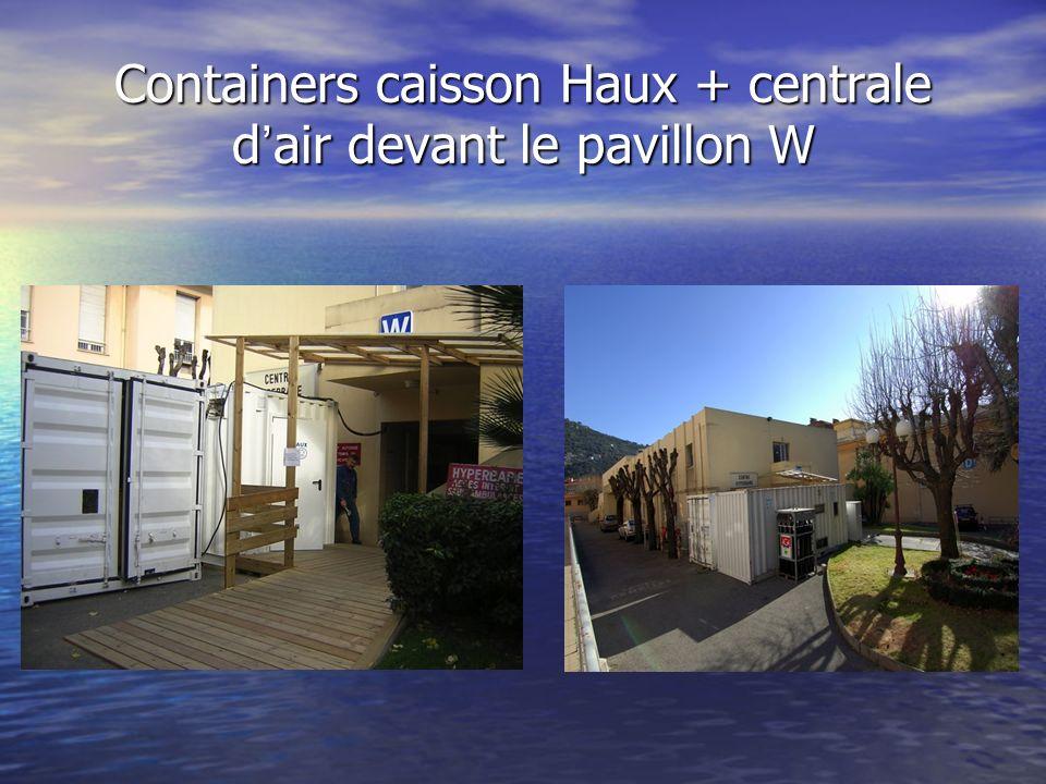 Containers caisson Haux + centrale d air devant le pavillon W